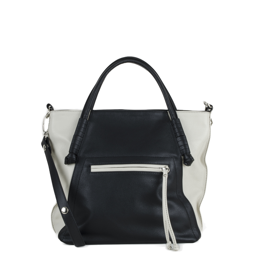 Amy Black Polvere Leather Tote Bag