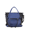 Amy Blue Black Leather Tote Bag