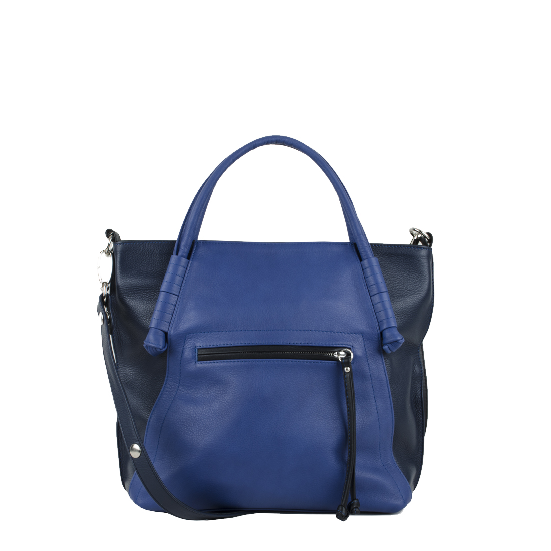 Amy Blue Navy Leather Tote Bag