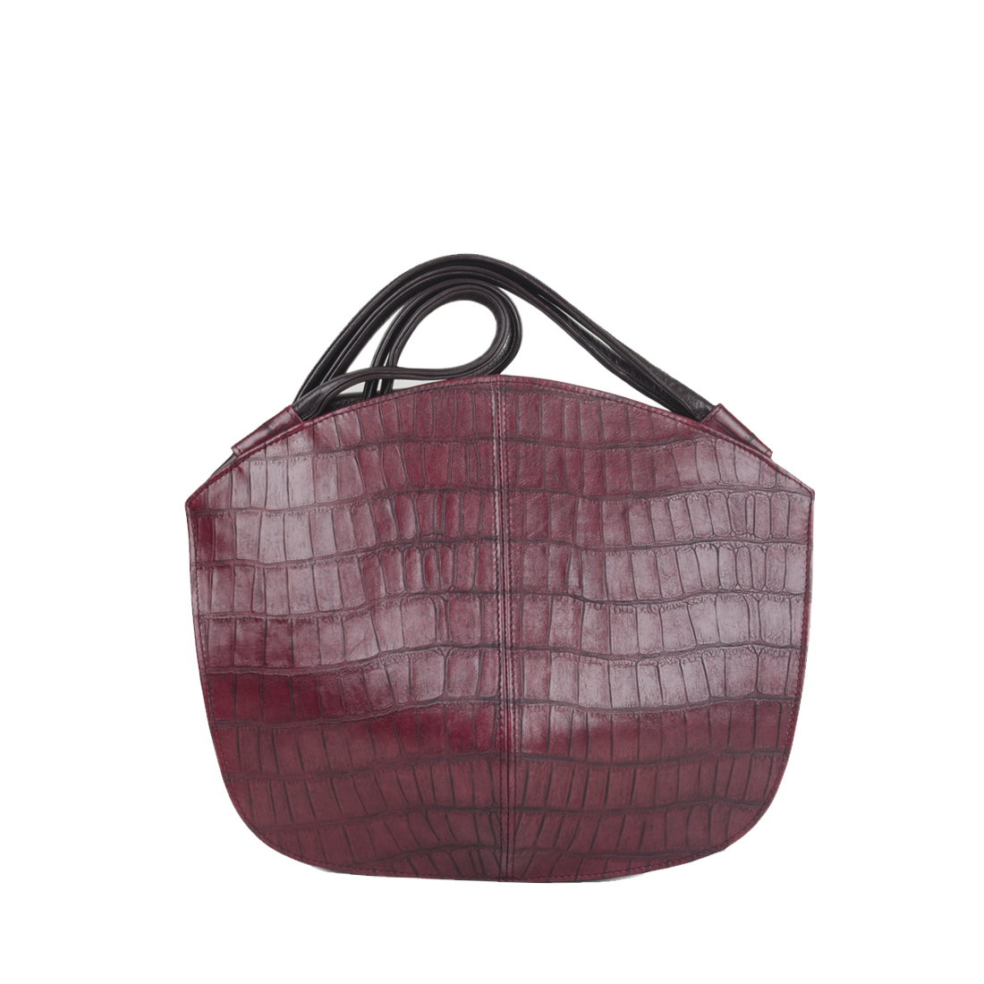 Carmen Burgundy Croc Print Leather Shoulder Bag