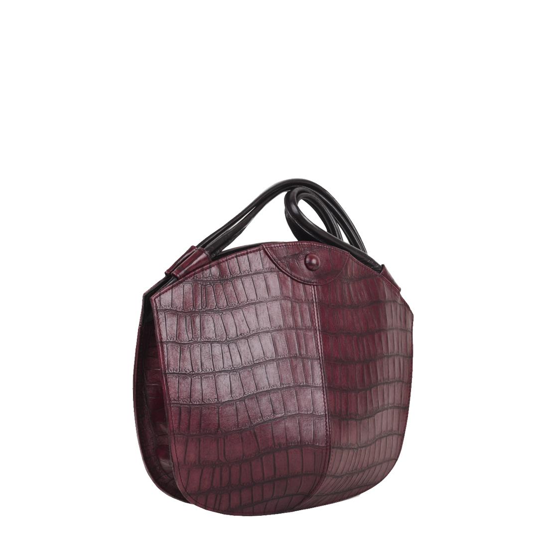 Carmen Burgundy Croc Print Leather Shoulder Bag