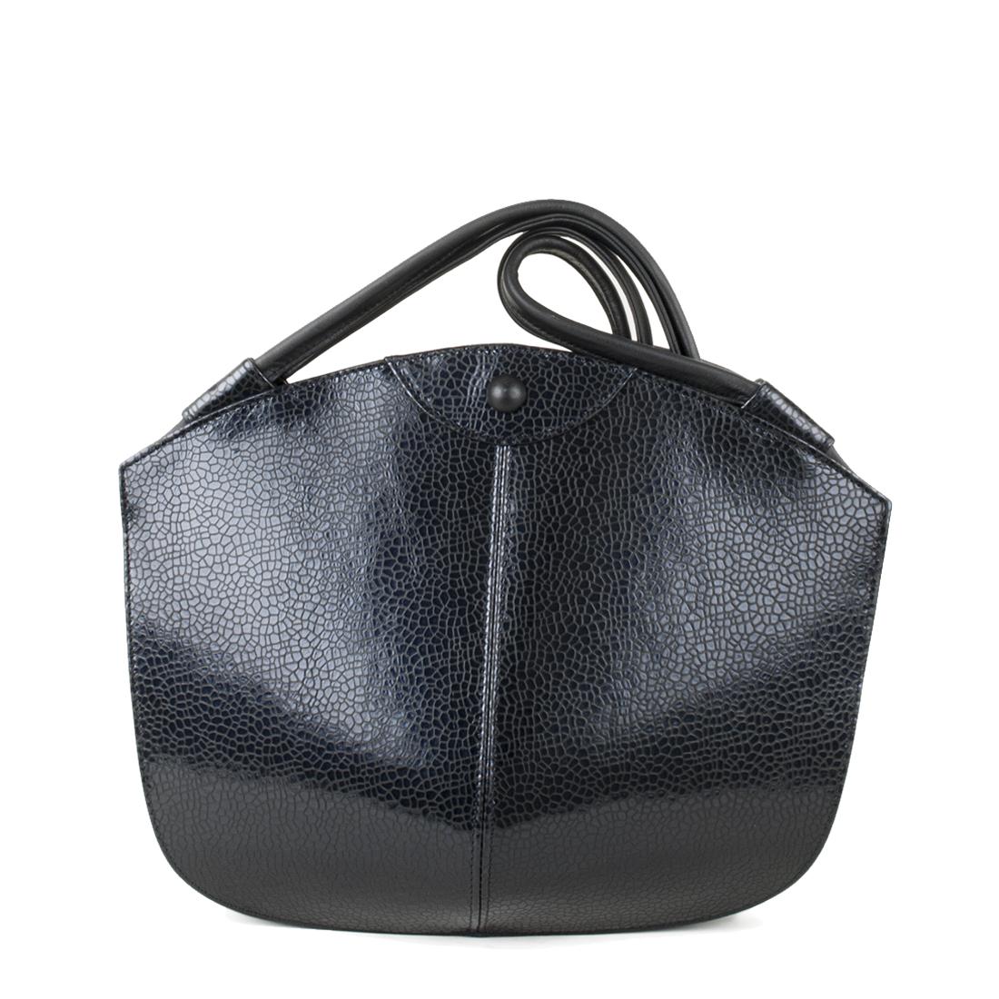 Carmen Navy Print  Leather Shoulder Bag