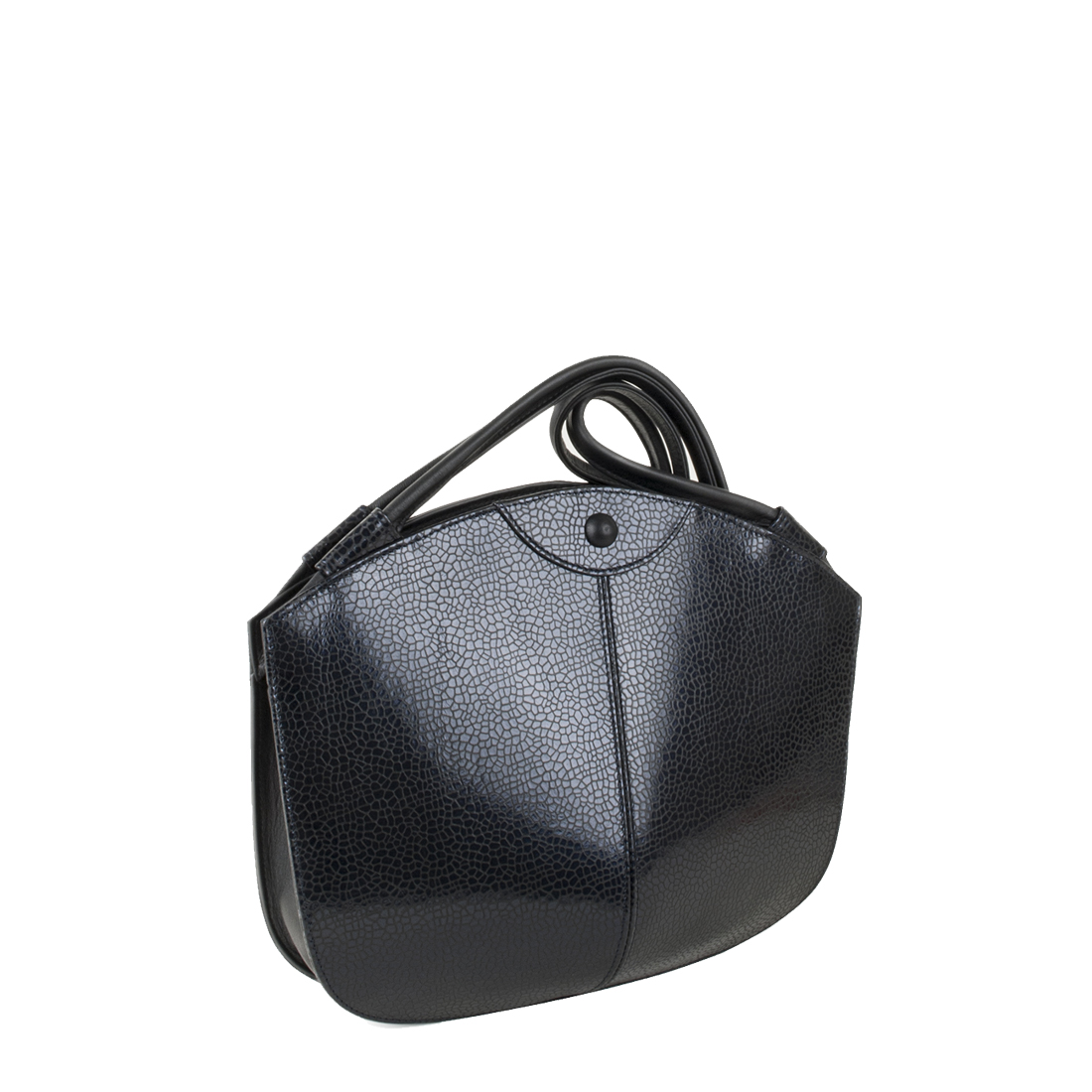Carmen Navy Print  Leather Shoulder Bag