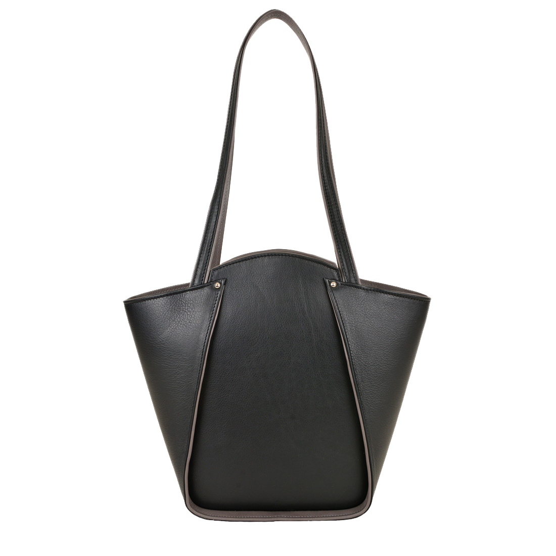 Greta Black Structured Leather Shoulder Bag