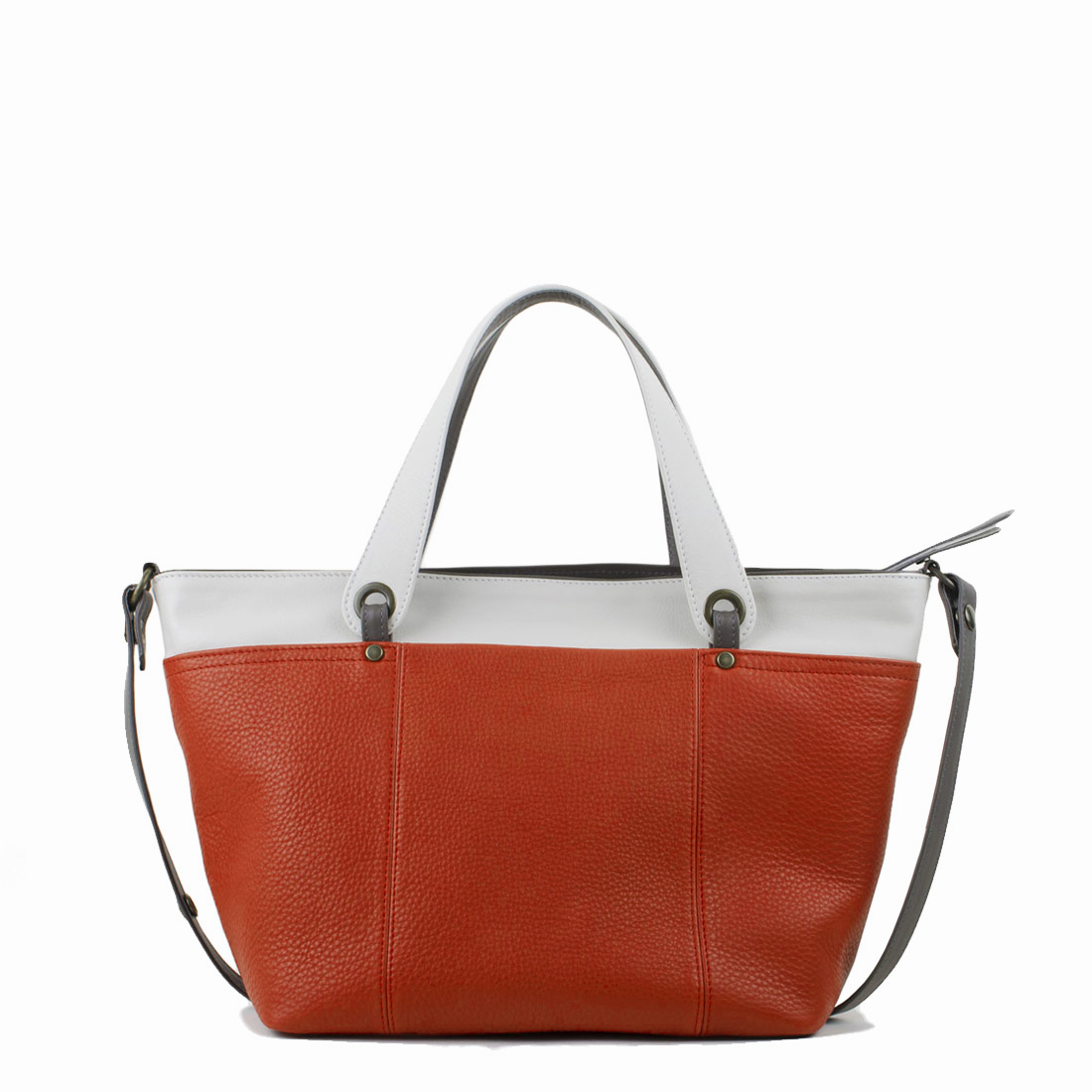 Lucy Orange Polvere Leather Tote Bag