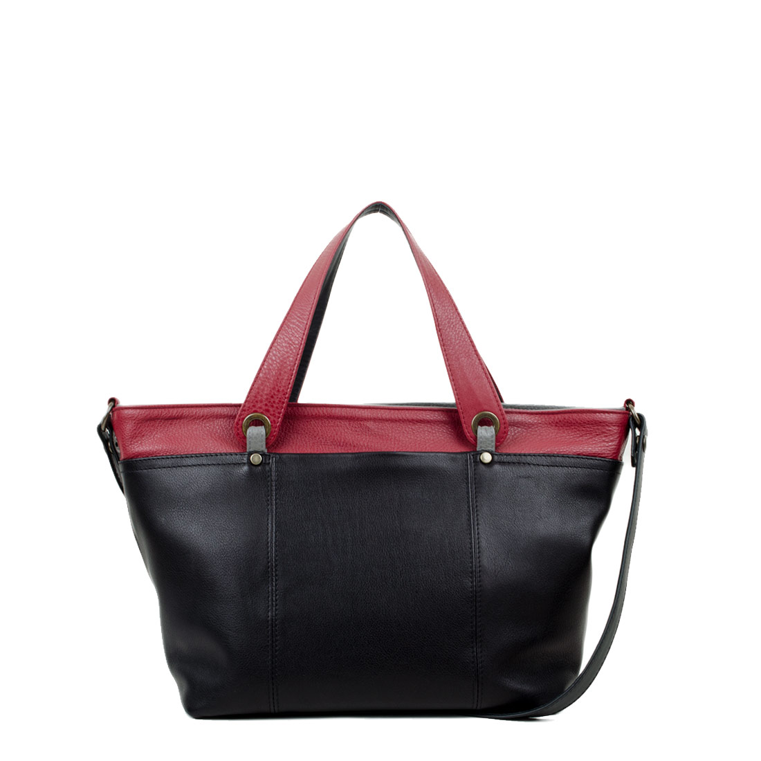 Lucy Black with Red Leather Tote Bag