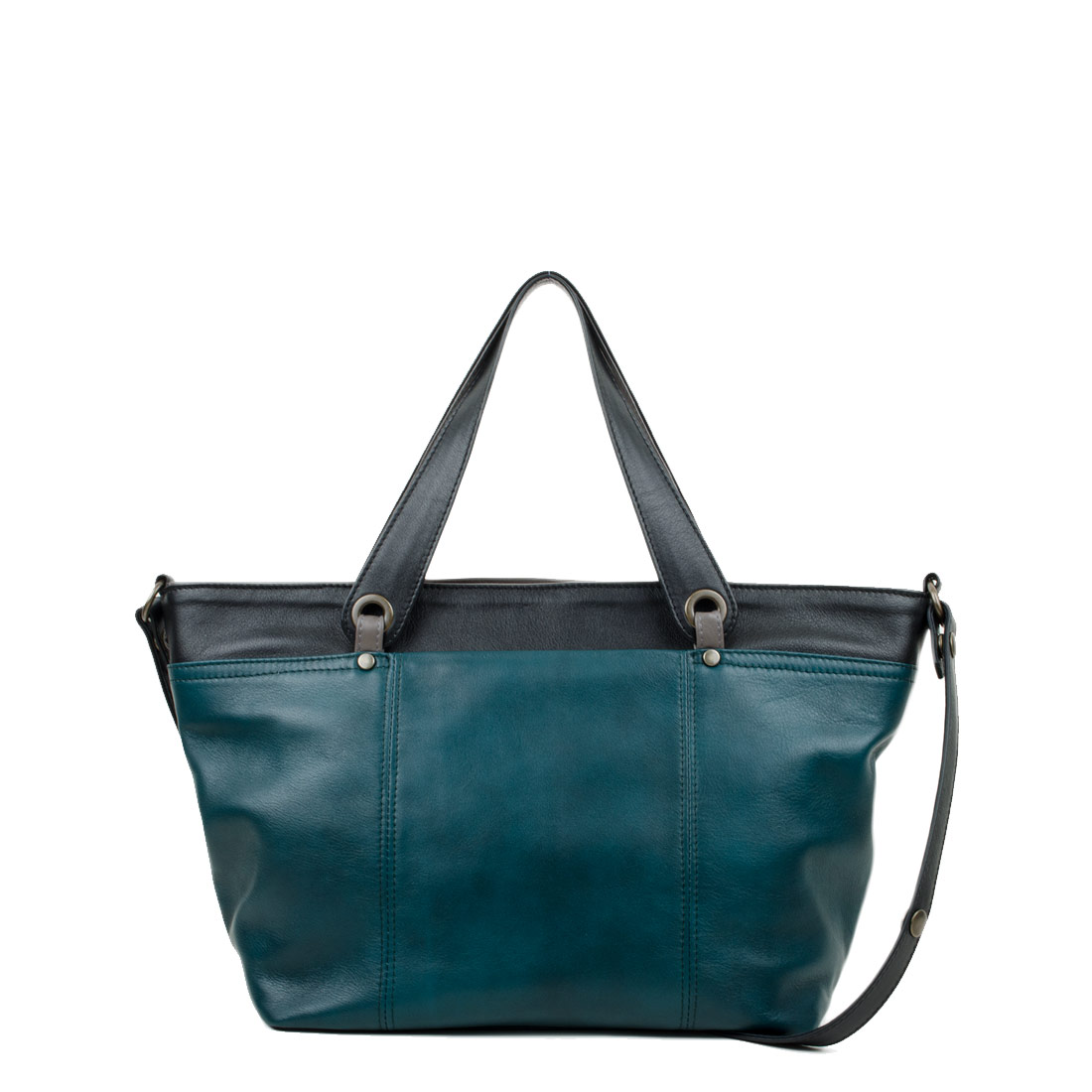Lucy Teal with Black Leather Tote Bag