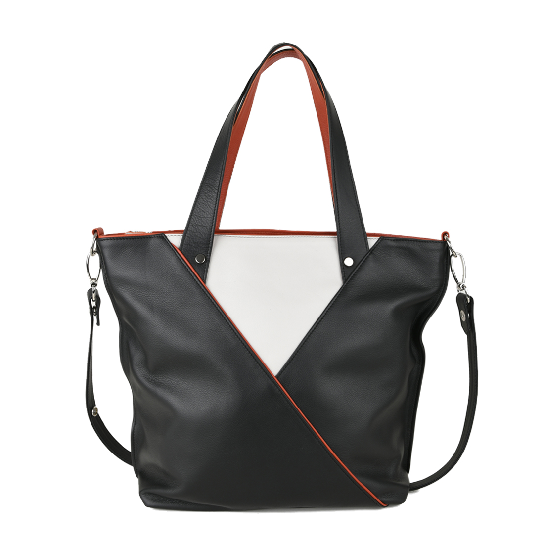 Amanda Black with Polvere Leather Tote Bag