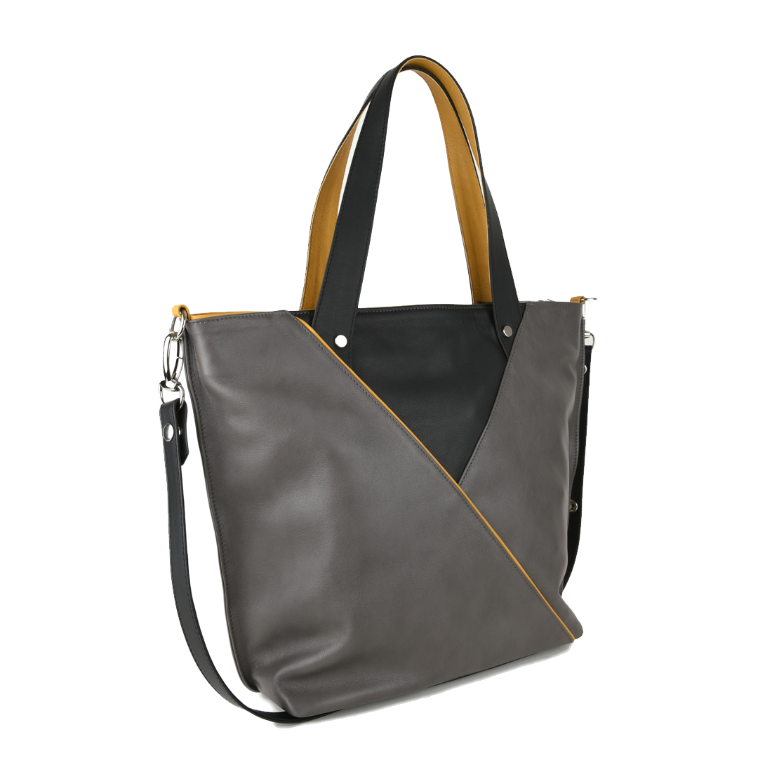Amanda Leather Tote Bag in Grigio