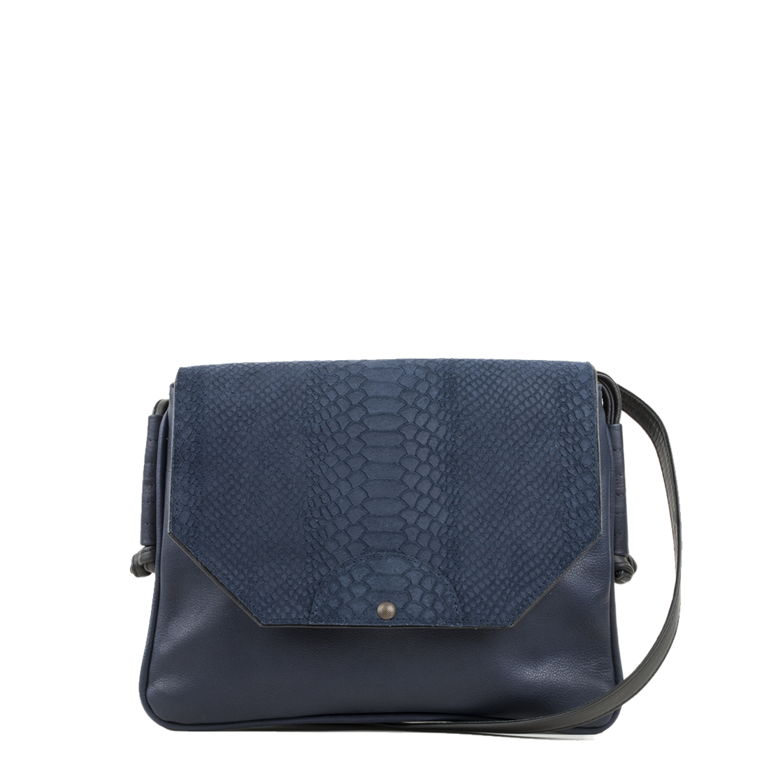 Annie Navy Anaconda Satchel Bag