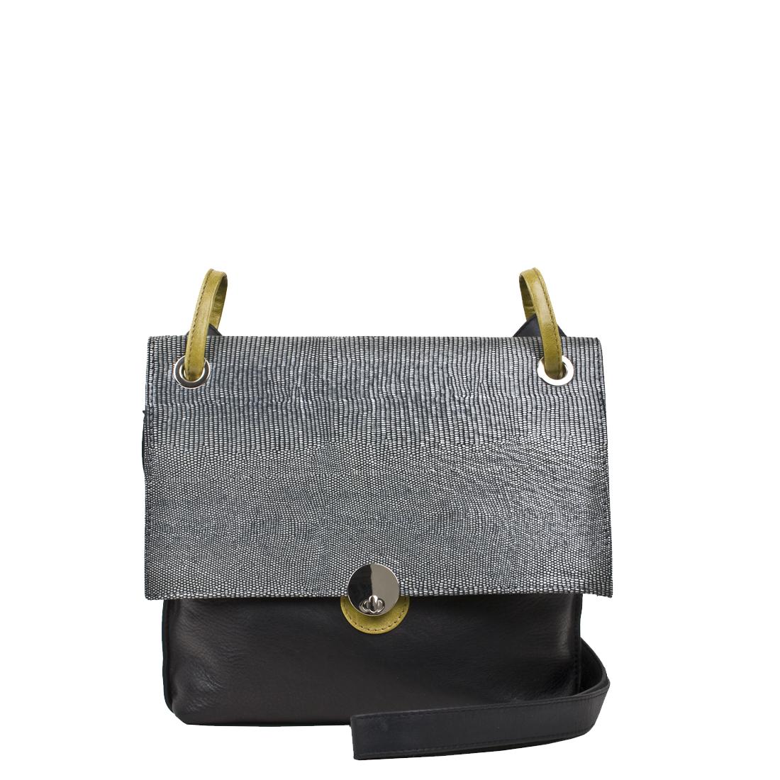 Medium Riley Black Leather Across Body Bag