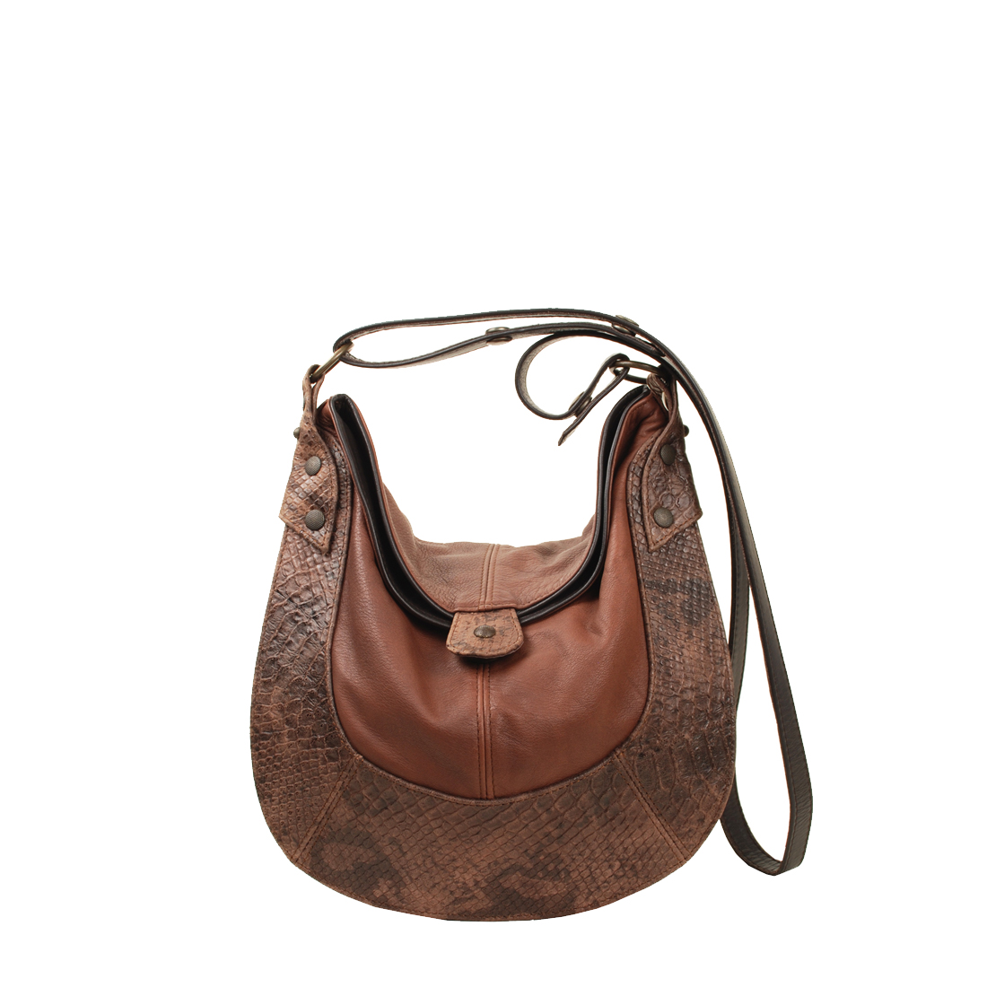 Small Horseshoe Brown Leather Shoudler Bag