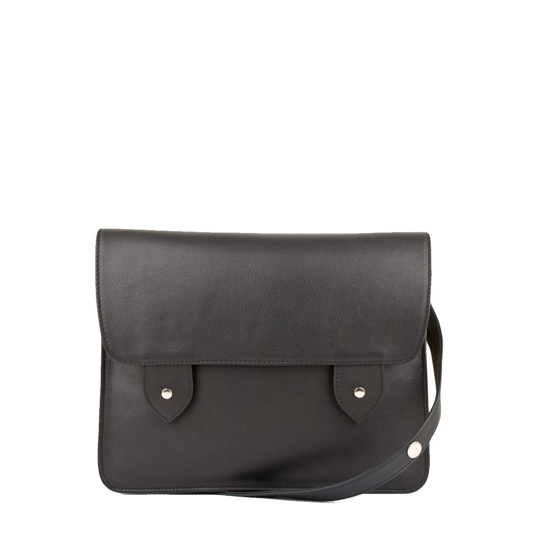 Stella Black Leather Satchel