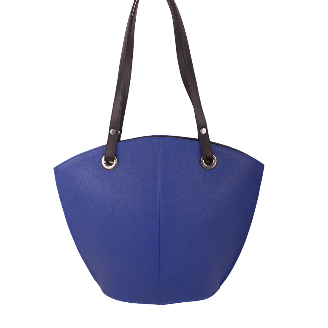 Audrey Blue Black Leather Shoulder Bag