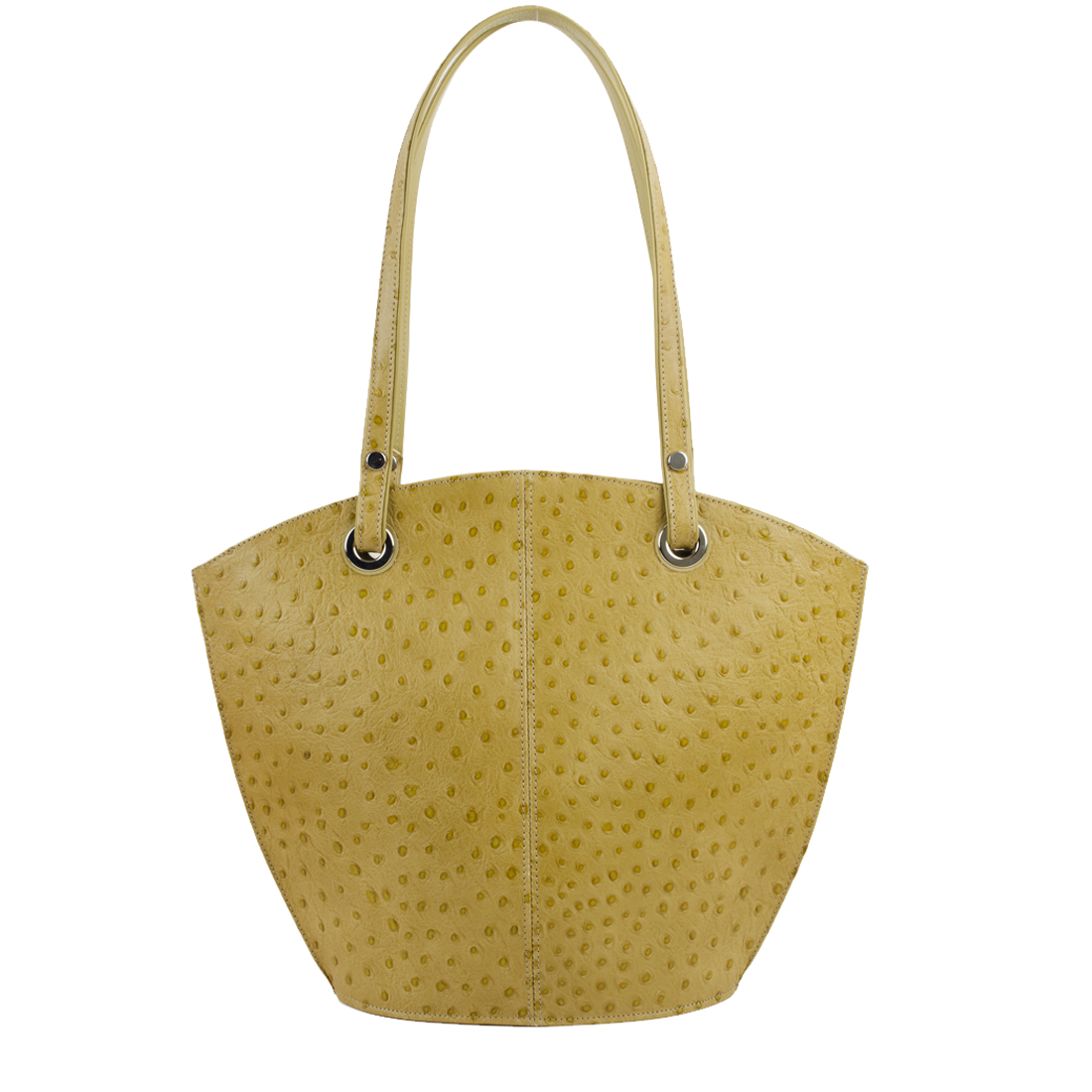 Audrey Lime Ostrich print Leather Shoulder Bag