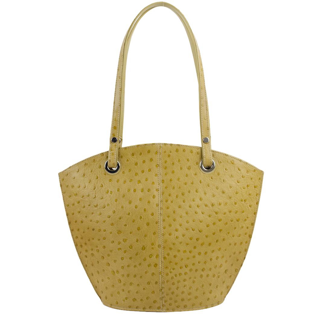 Audrey Lime Ostrich print Leather Shoulder Bag