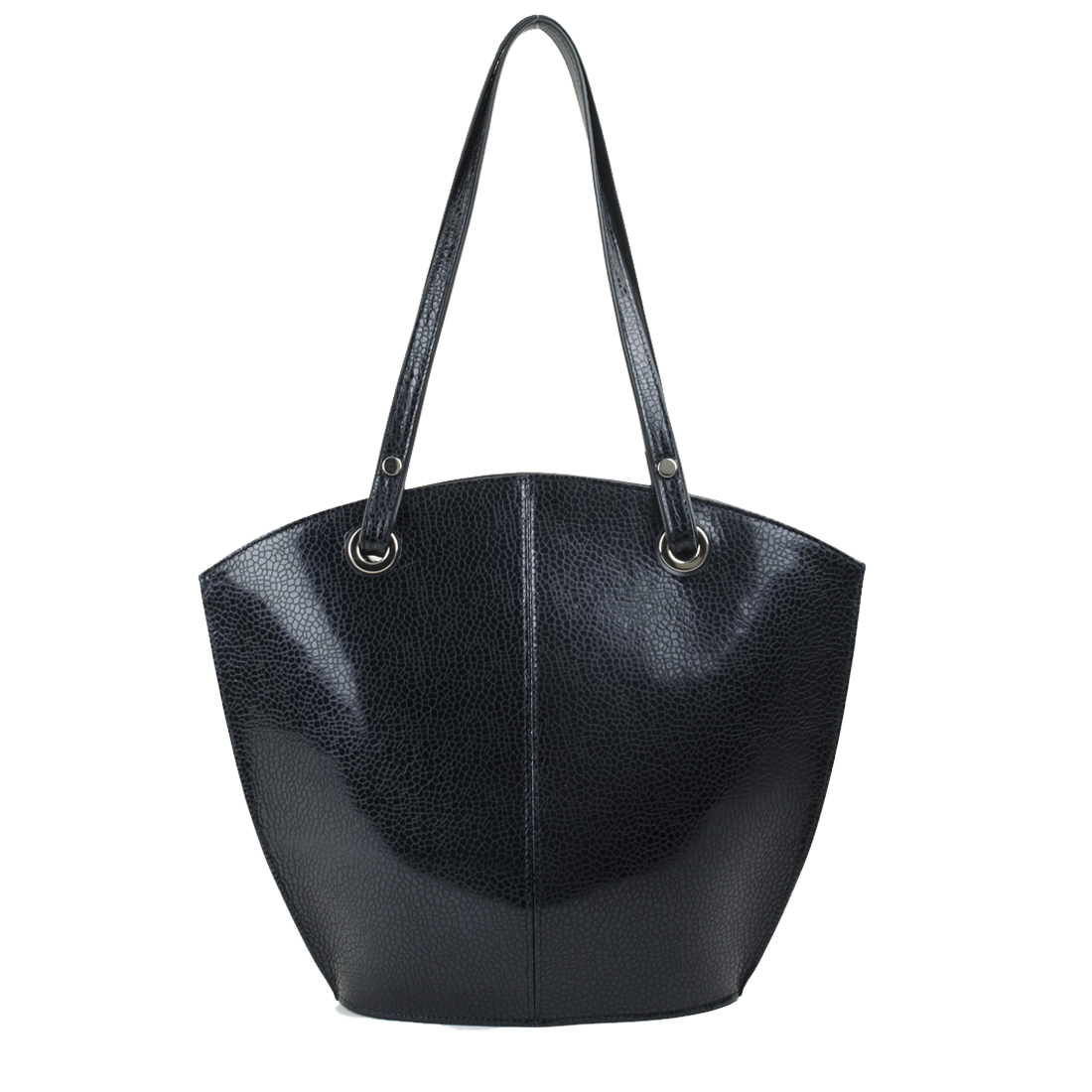 Audrey Navy Print  Leather Tote Bag