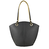 Audrey Black Lime Leather Tote Bag