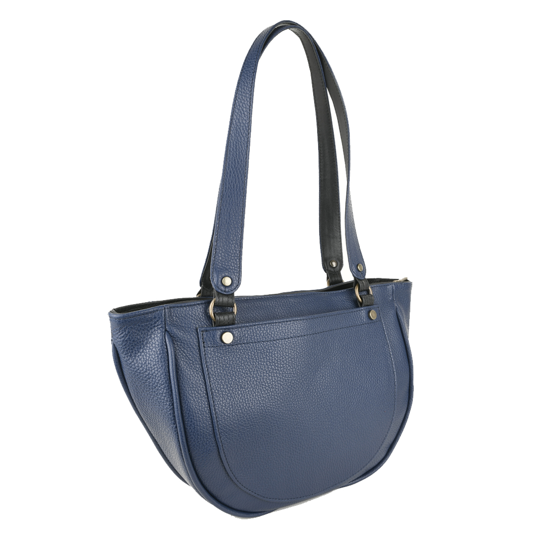 Becky Navy Blue Leather Shoulder Bag
