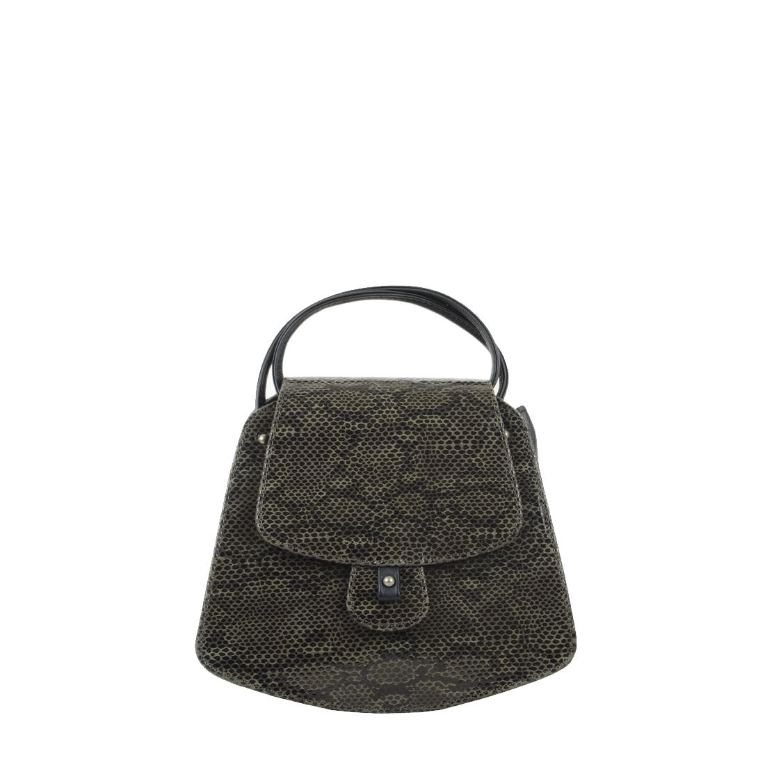 Clara Snakeskin olive Print Leather Shoulder Bag
