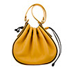 Daisy Mustard Black Leather Shoulder Bag