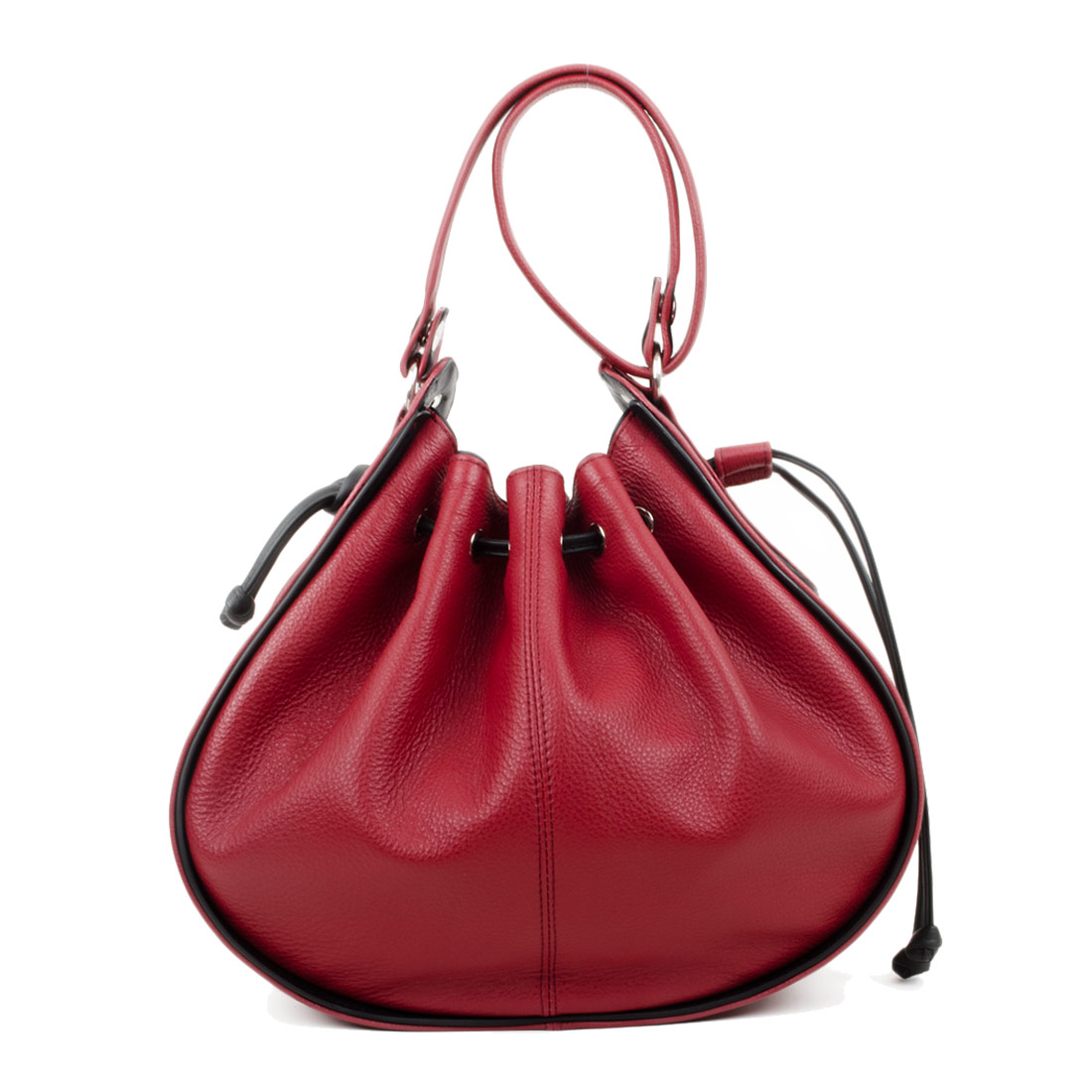 Daisy Red Black Leather Shoulder Bag