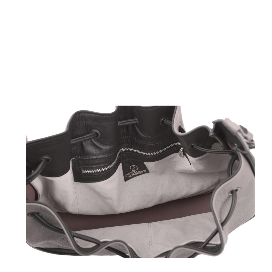 Daisy Taupe Black Leather Shoulder Bag