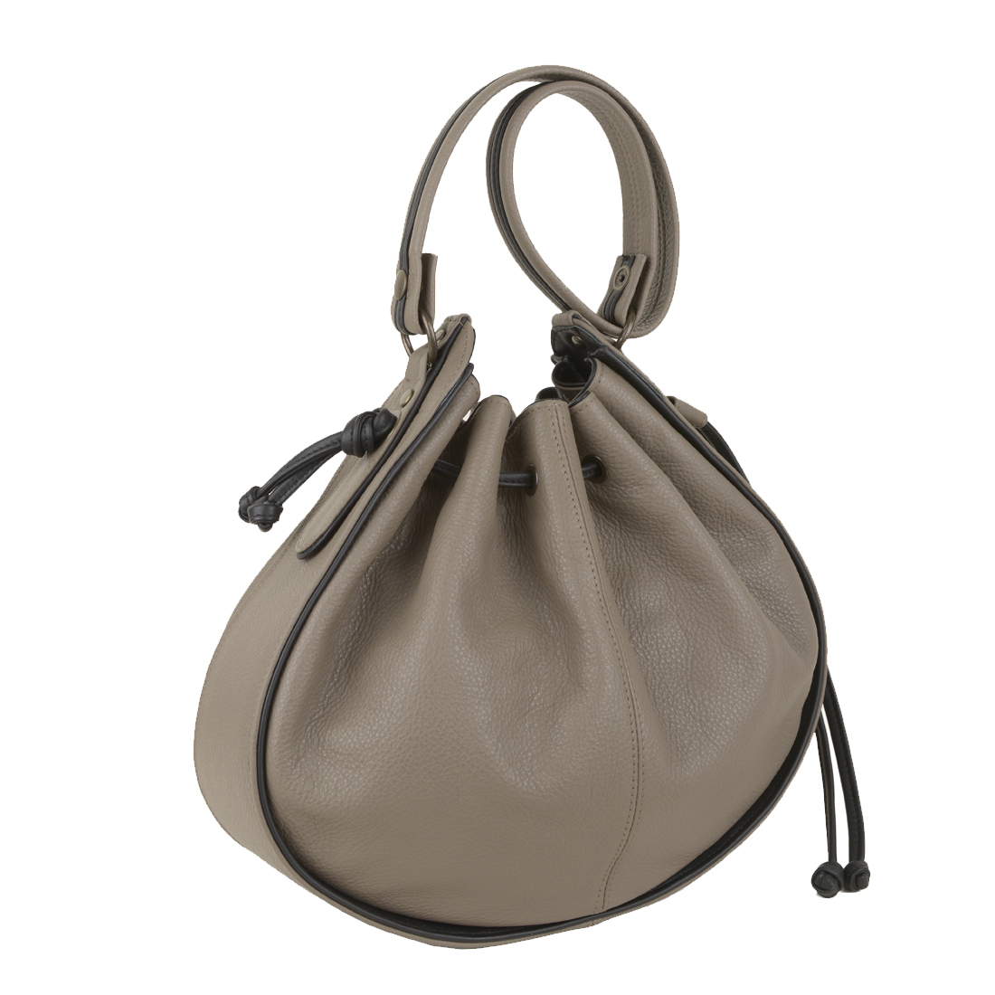 Daisy Taupe Black Leather Shoulder Bag