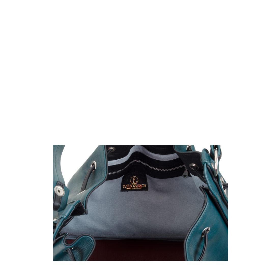 Daisy Teal Black Leather Shoulder Bag