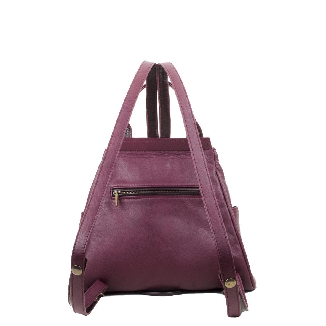 Daliya Plum Leather Backpack