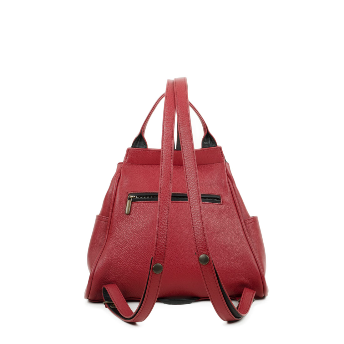 Daliya Red Leather Backpack