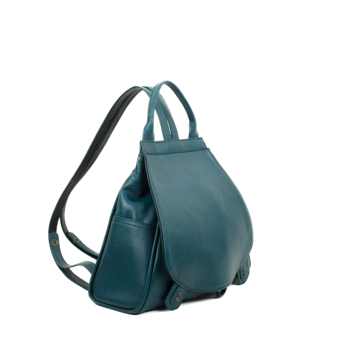 Daliya Teal Leather Backpack
