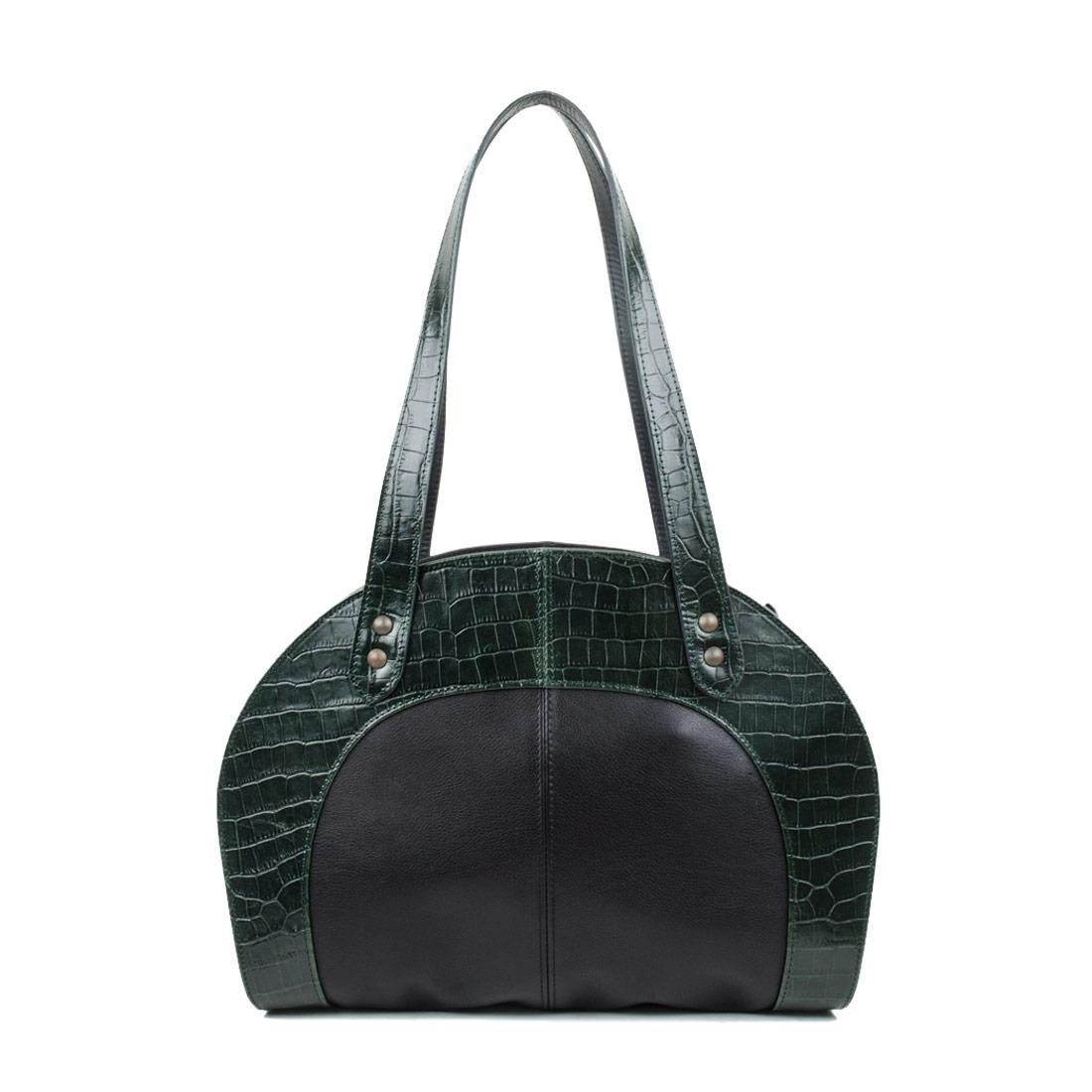 Eliza Dark Green Crocodile Print Shoulder Bag