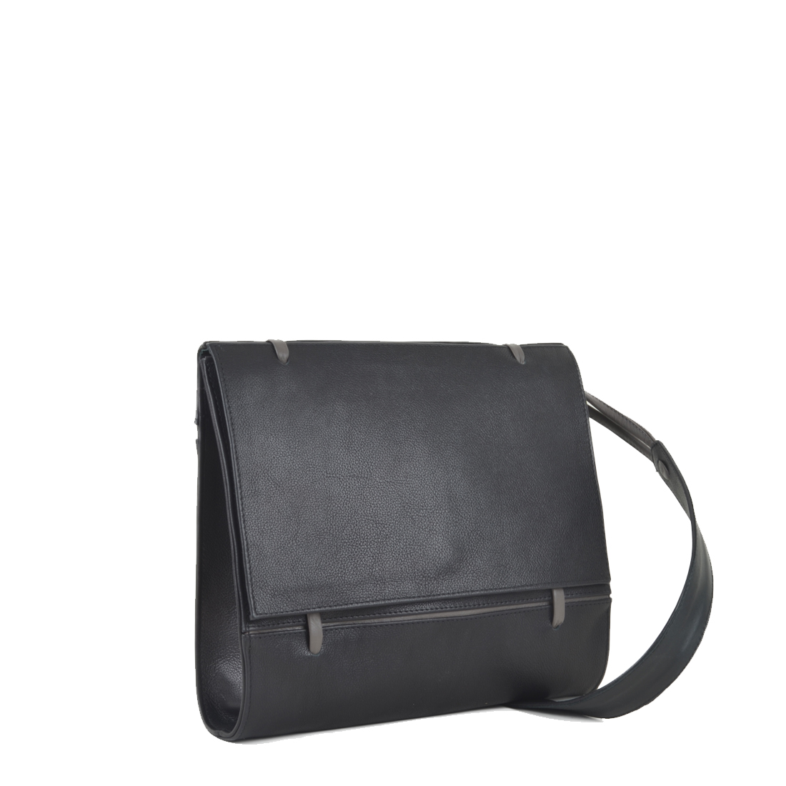 Elsa Black with grigio Leather Across Body Bag