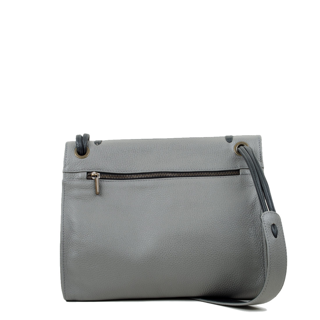 Elsa Grey Leather Across Body Bag