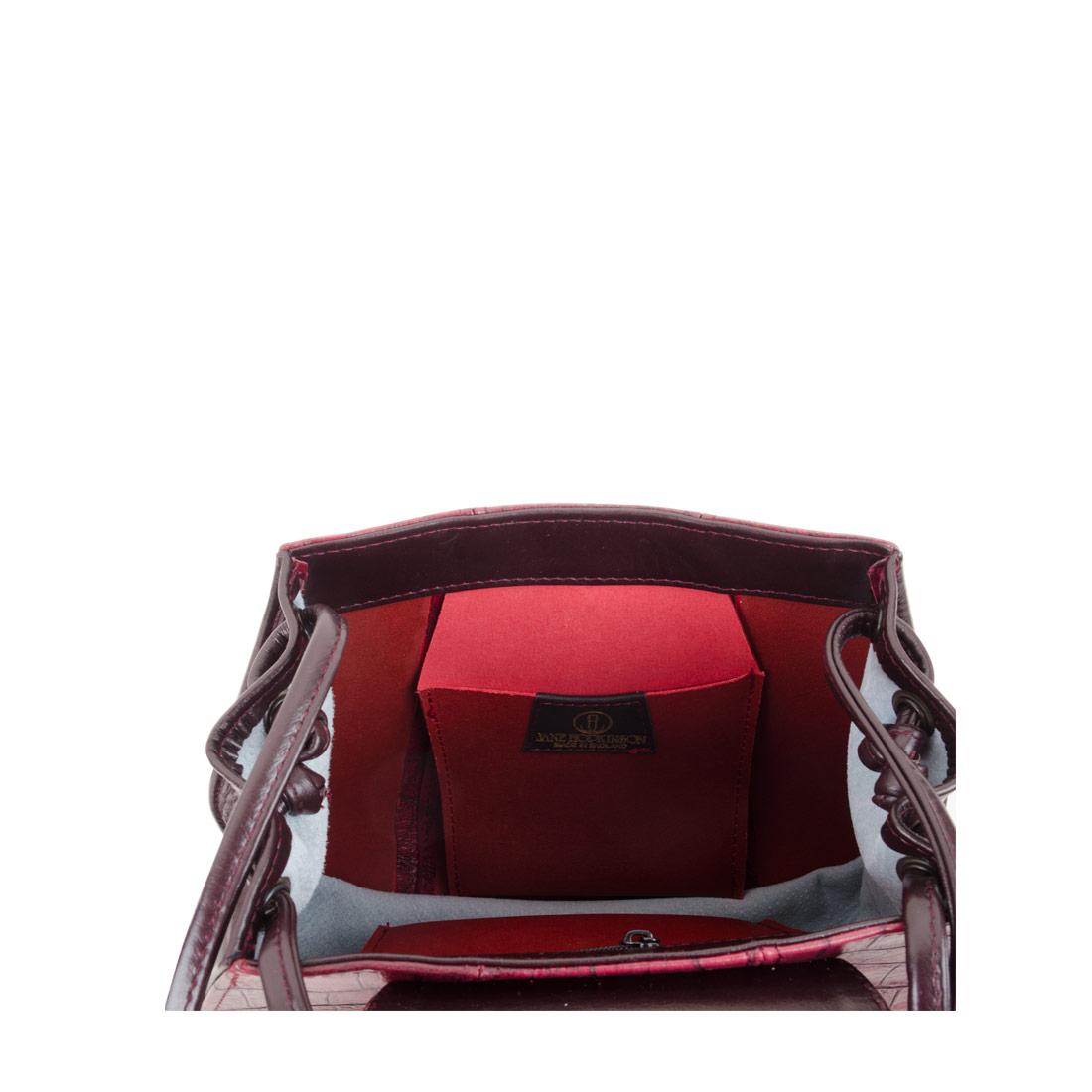 Florence Burgundy Print Leather Shoulder Bag