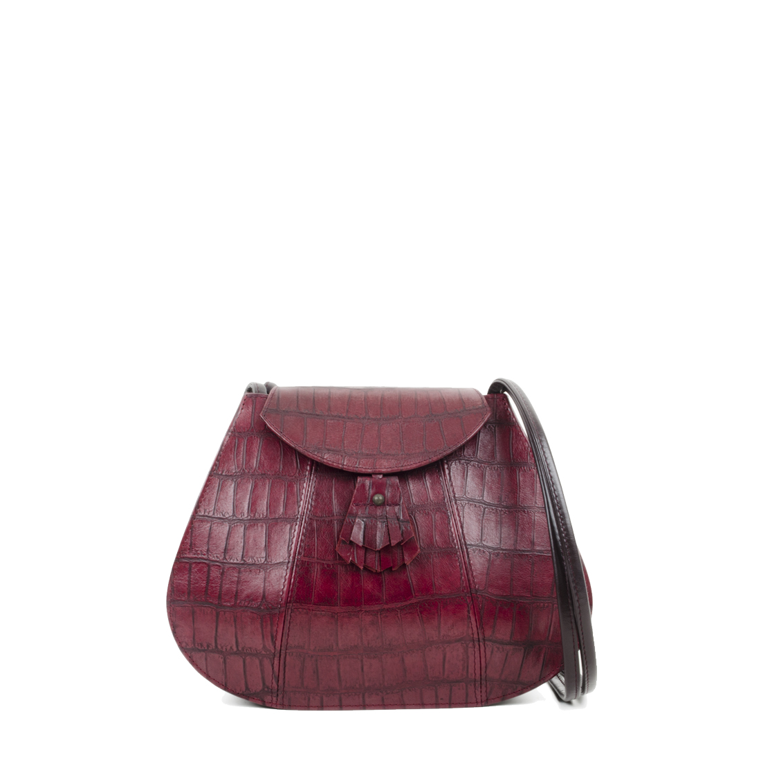 Florence Burgundy Print Leather Shoulder Bag