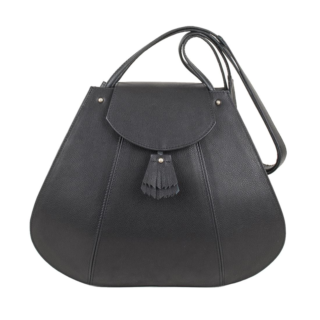Frances Black Leather Shoulder Bag