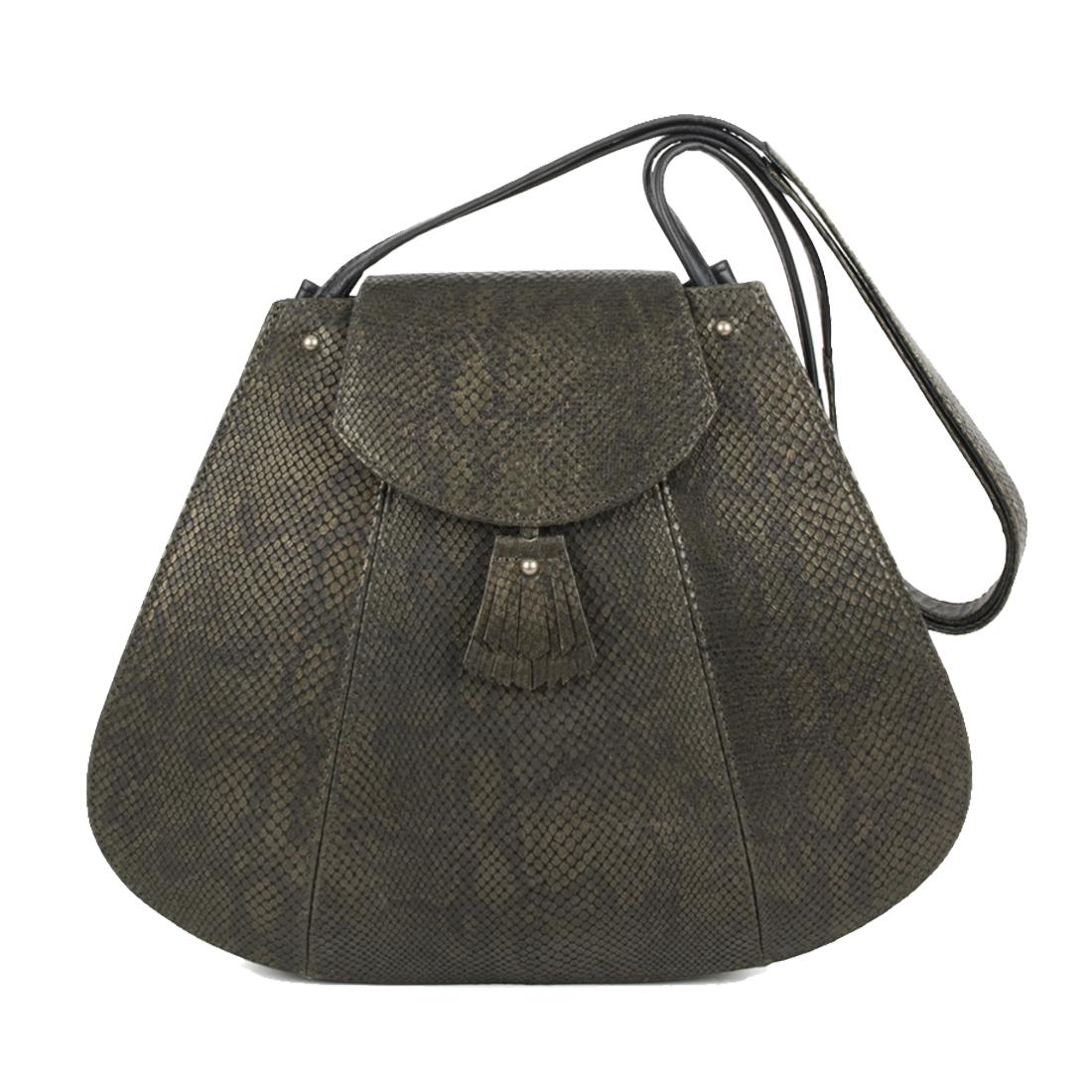 Frances Olive Snake Print Leather Shoulder Bag