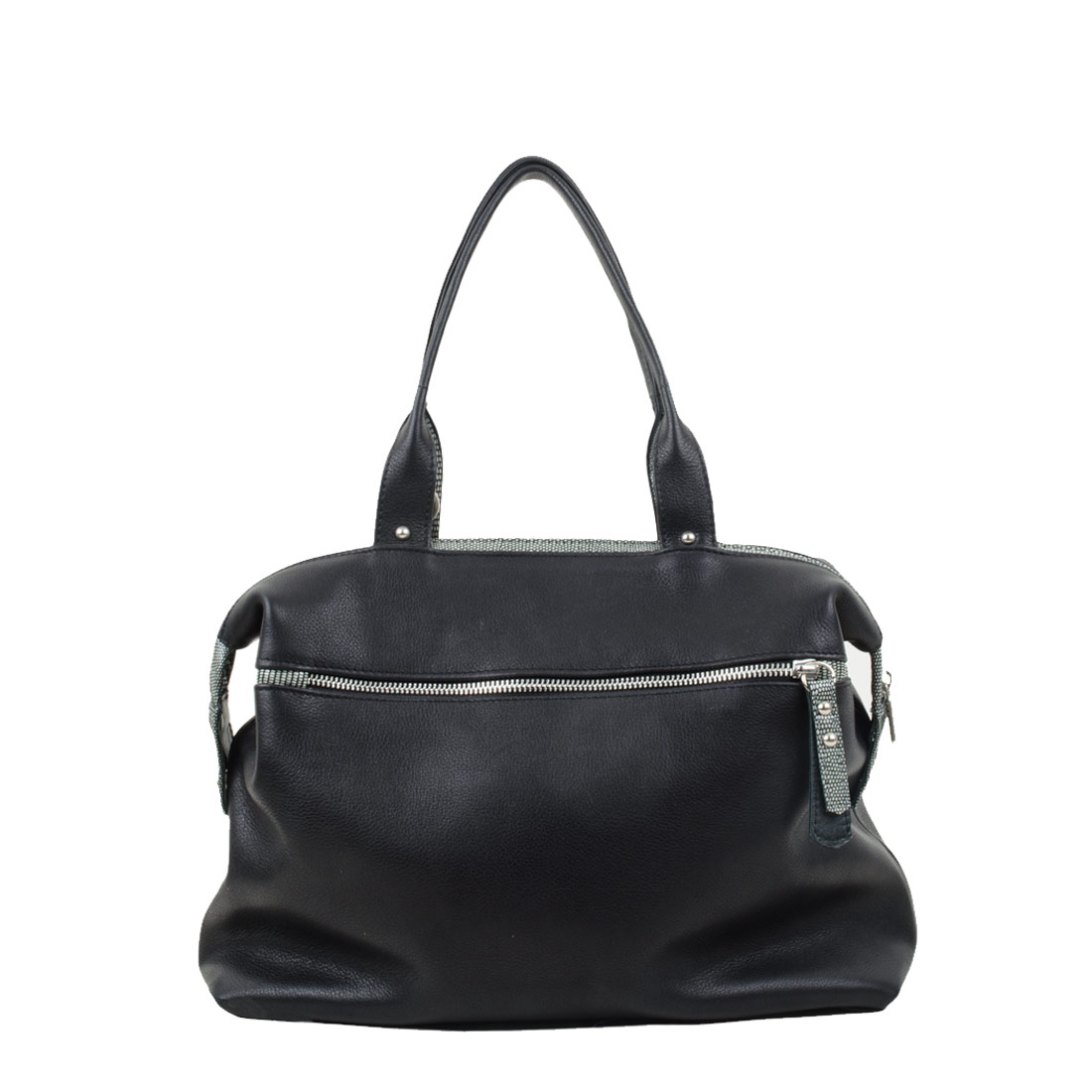 Grace Black Leather Tote Bag