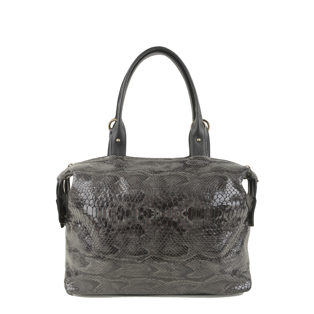 Grace Grey Python Print Leather Tote Bag