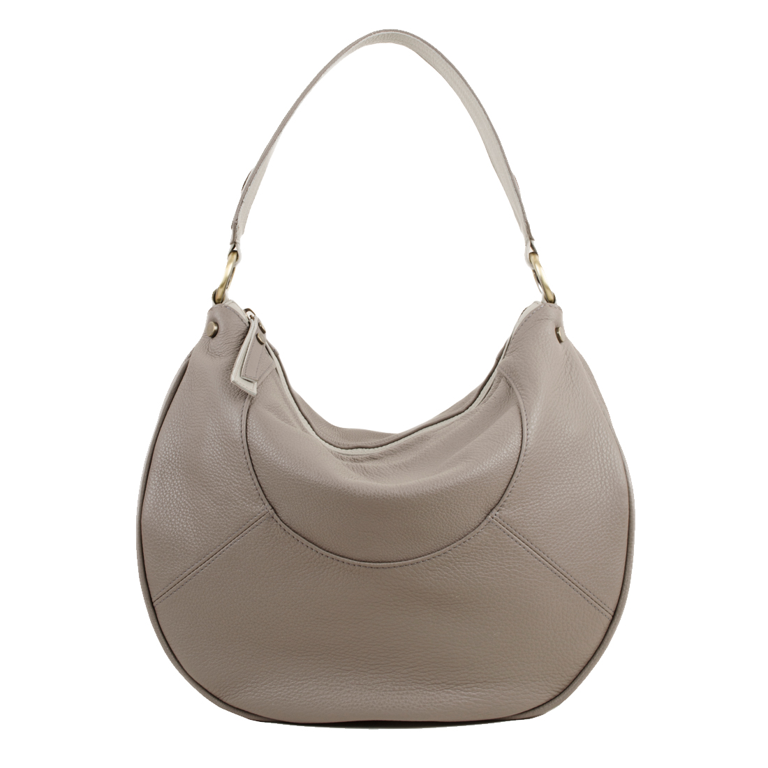 Hannah Taupe Leather Shoulder Bag