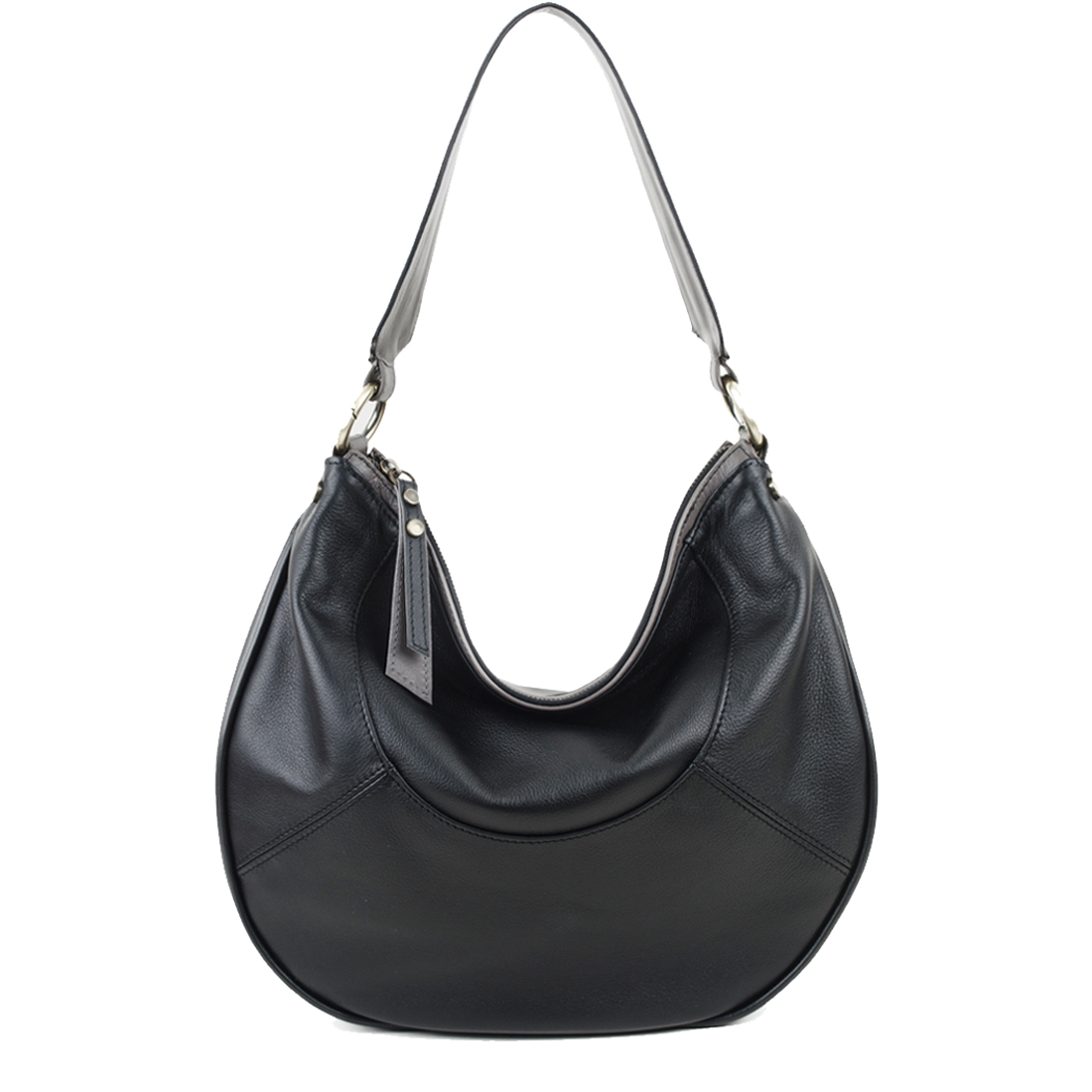 Hannah Black Leather Shoulder Bag