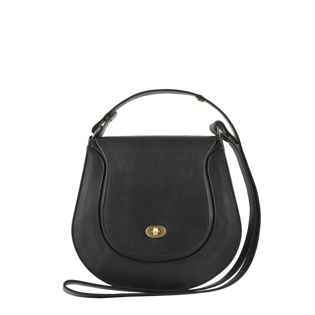 Hattie Black Leather Shoulder Bag