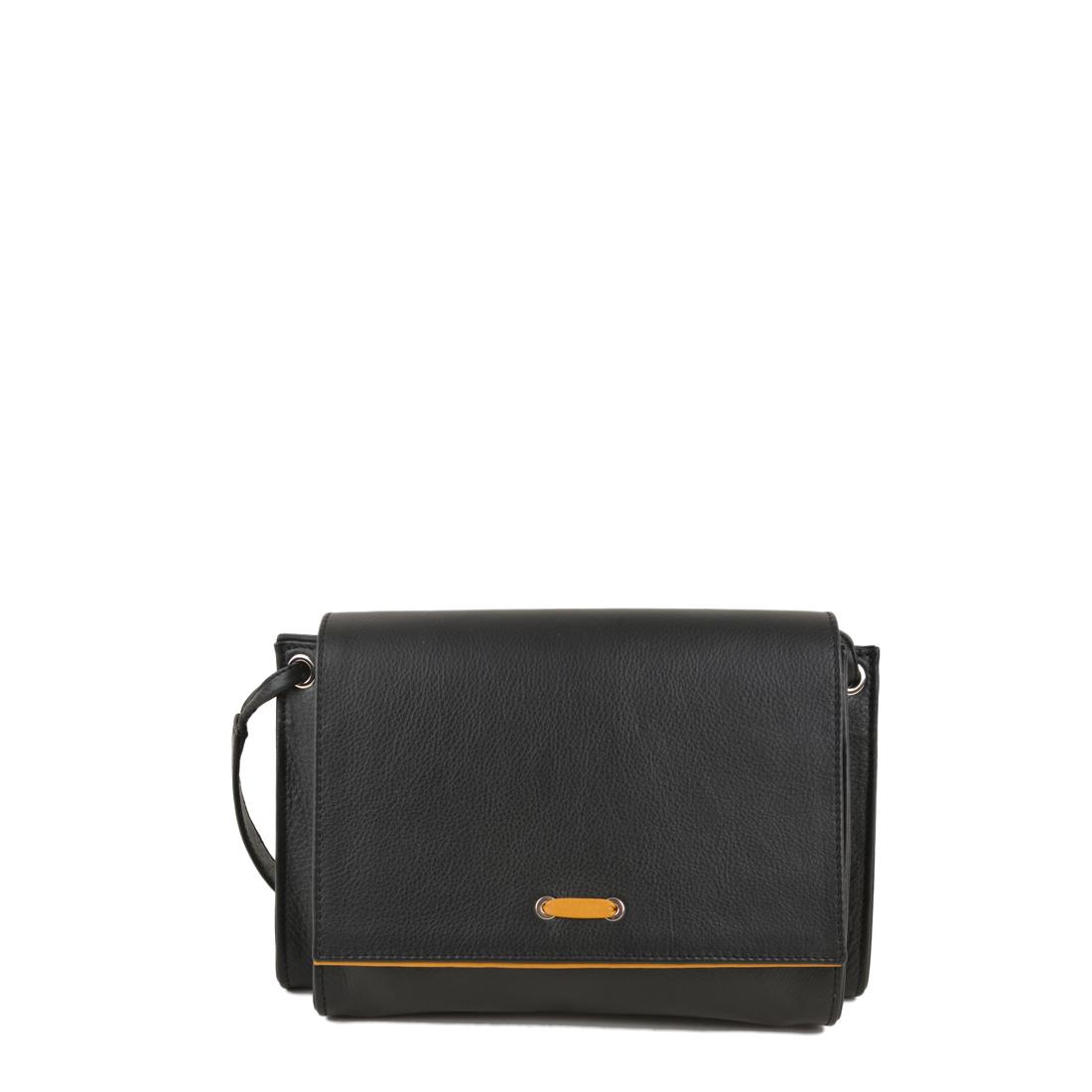 Isobel Black Yellow Leather Across Body Bag