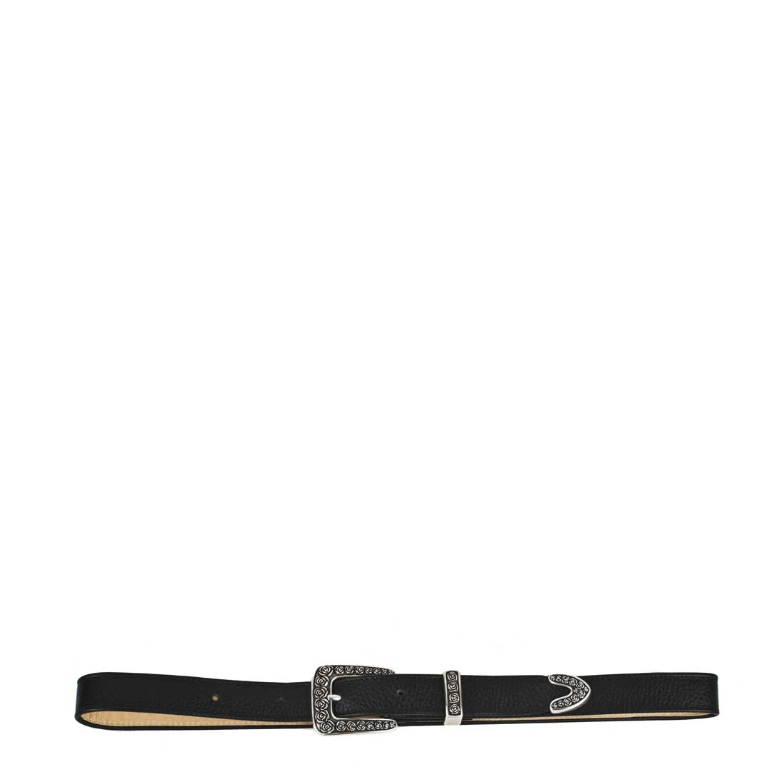 Rose Black Leather Belt