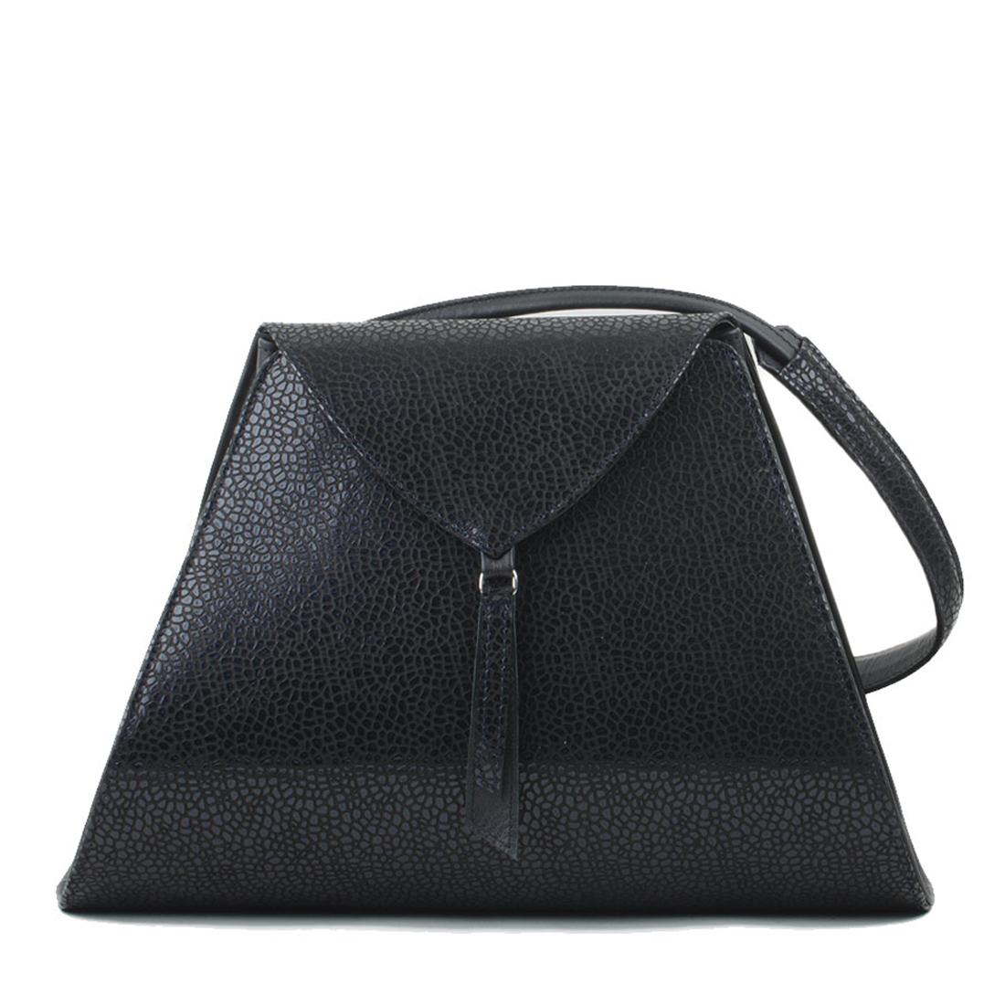 Josie Navy print Leather Shoulder Bag