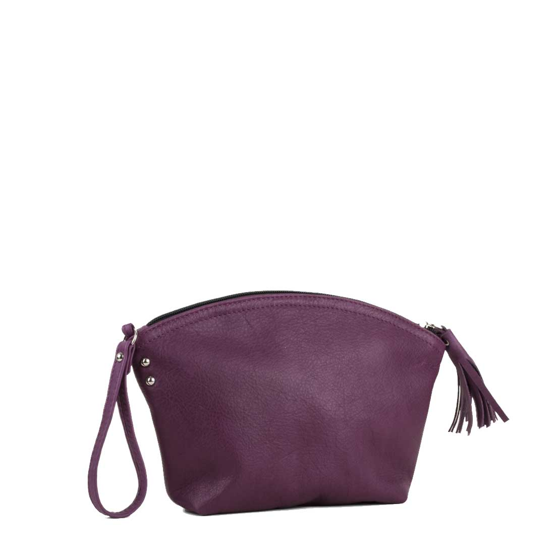 Wrist Bag In Magenta Leather