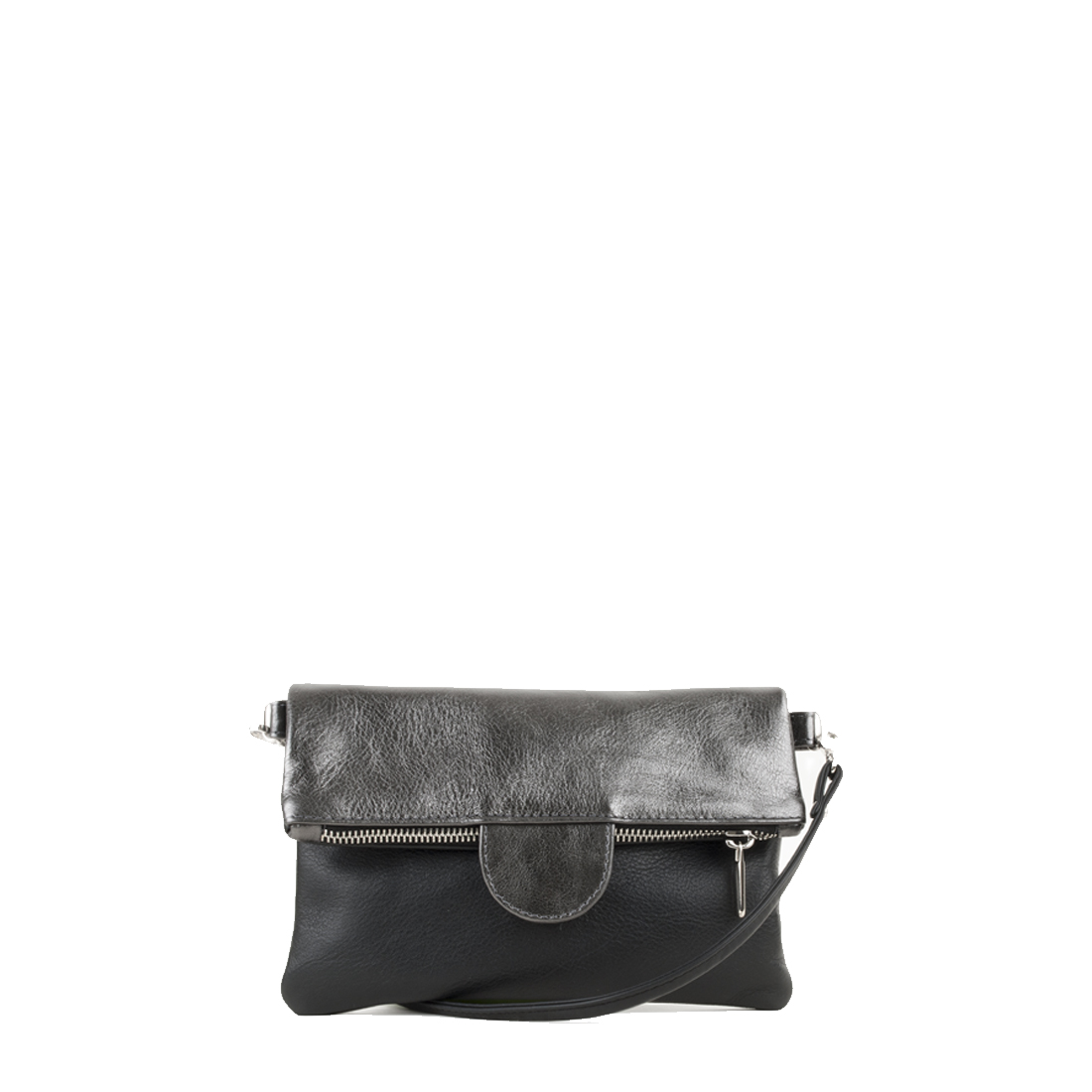 Lilly Black Pewter Leather Across Body Bag