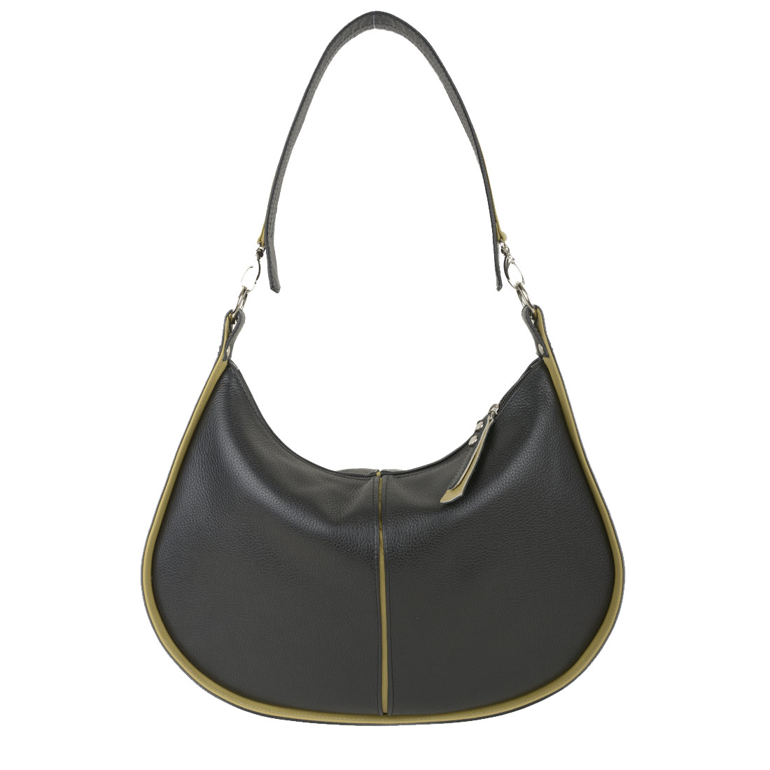 Lizzie Black Leather Shoulder Bag